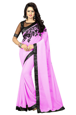 Attractive Pink Embroidery Saree With Blouse