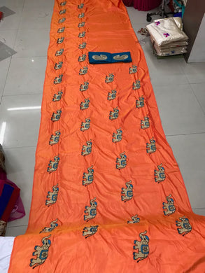 Awesome Orange Color Saree With Elephant Design And Work Blouse