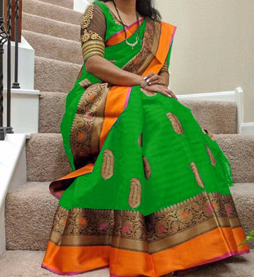 Awesome Green Heavy Bhagalpuri Silk Saree With Blouse
