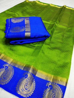 Awesome Green And Blue Mango Design Saree With Blouse