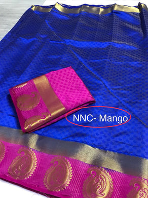 Attractive Blue And Pink Tussar Silk Saree With Blouse