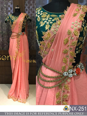 Awesome Orange And Green Fancy Thread Work Saree