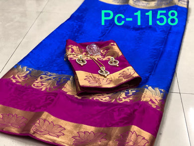 Awesome Pink And Blue Balaton Silk Saree With Blouse And Necklace