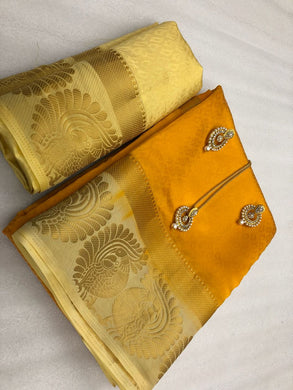 Awesome Yellow Tussar Silk Saree With Blouse