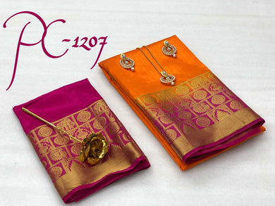 Attractive Orange And Pink Pure Raw Silk Saree With Blouse And Jewellery