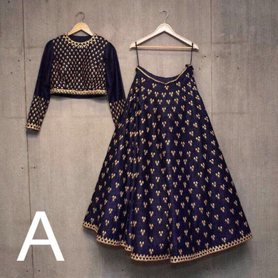 Attractive Navy Blue Designer Embroidery Work Lehenga With Dupatta