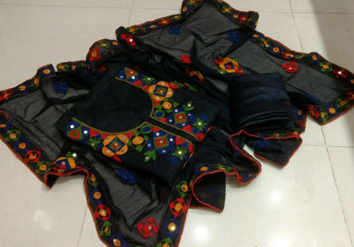 Stunning Black Chanderi Suit With Embroidery And Mirror Wok