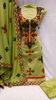 Pista Colour Fabulous Chanderi Suit With Embroidery And Mirror Work