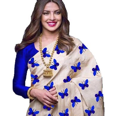 Amazing Blue Color Titli Design Printed Saree With Blouse