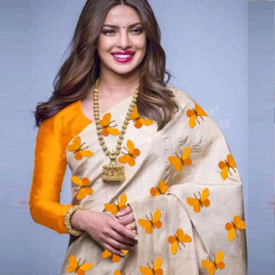 Awesome Yellow Color Printed Saree With Blouse