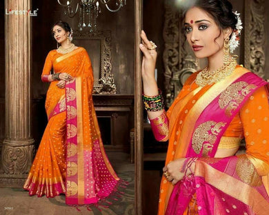 Awesome Orange And Pink Row Silk Saree With Blouse