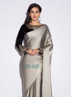 Grey Paper Silk With Moti Lace And Velvet With Work Blouse Saree