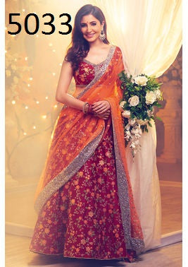 Anushuka Sharma Red Tapeta Silk Legha Choli With Duppta Net Leghenga
