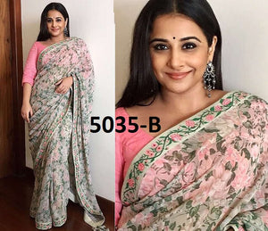 7107018d863b94 Multicolor Vidya Balan Georgette Prited With Embroidered Les Blouse Plan  Saree