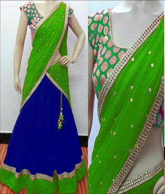 Green Tapeta Silk Lehnga And Fancy Jecard Silk Blouse