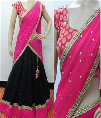 Pink Tapeta Silk Lehnga And Fancy Jecard Silk Blouse