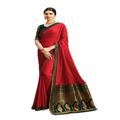 7fb6bff8f9ed7e Awesome Red Designer Jecard Print Silk Saree With Beautifully Blouse