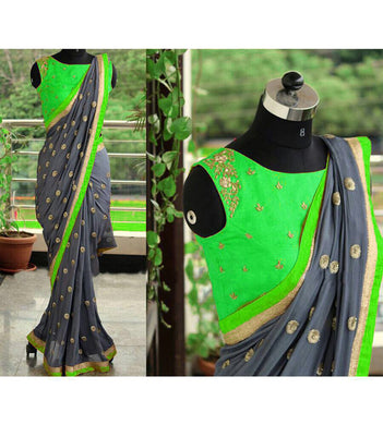 Beautiful Green And Grey Georgette Saree With Embroidery Blouse