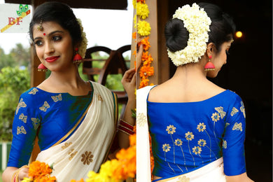 Awesome White And Blue Saree With Embroidery Blouse