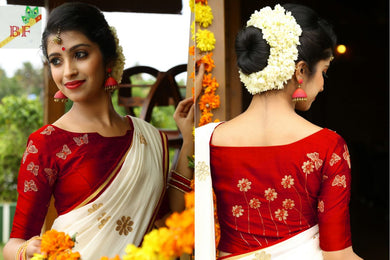 White And Red Designer Saree With Embroidery Blouse