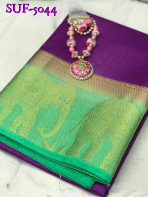 Attractive Purple And Aqua Tussar Silk Saree With Necklace