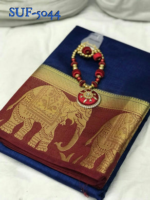 Attractive Navyblue And Red Pure Tussar Saree With Necklace