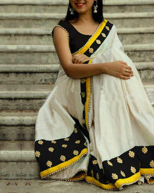 Attractive Black And White Chanderi Cotton Saree With Blouse