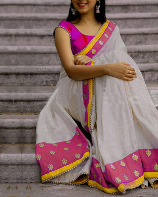Awesome Pink And White Chanderi Cotton Saree With Blouse