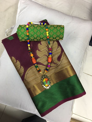 Beautiful Brown Cotton Silk Saree With Blouse And Necklace