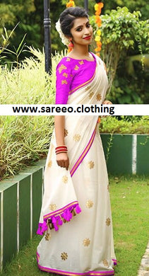 Awesome Pink And White Chanderi With Embroidery Saree With Blouse