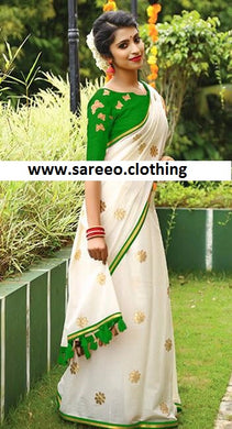 Beautiful Green And White Chanderi Embroidery Saree With Work Blouse