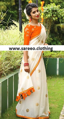 Attractive Orange And White Chanderi Embroidery Saree With Work Blouse