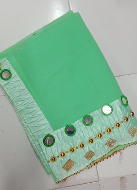 Attractive Light Green Color Marvel Chiffon Fancy Hand Work Saree With Blouse