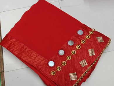 Awesome Red Color Marvel Chiffon Fancy Handwork Saree Withh Blouse
