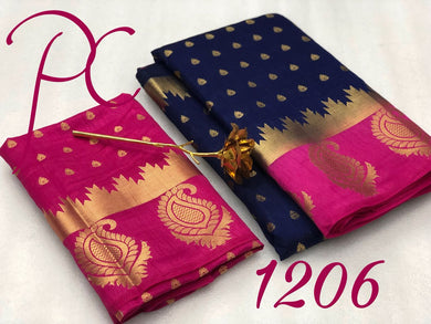 Attractive Navy And Pink Tussar Silk Saree With Blouse