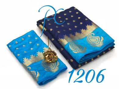 Beautiful Blue And Skyblue Tussar Silk Saree With Blouse