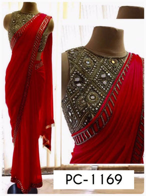 Attractive Red Georgette Embroidery Coding Saree With Mirror Work Blouse