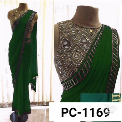 Awesome Green Color Georgette Embroidery Saree With Mirror Work Blouse