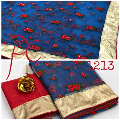 Attractive Blue Color Embroidery + Pearl Work Saree With Blouse