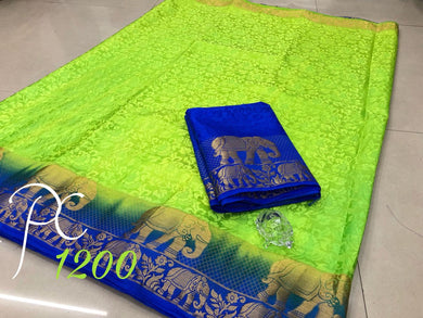 Awesome Green And Navy Tussar Silk Saree With Blouse