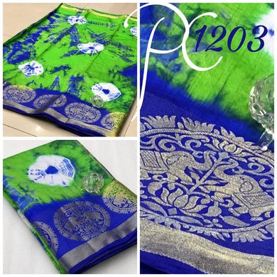 Awesome Green And Blue Tussar Silk Elephant Design Saree With Blouse
