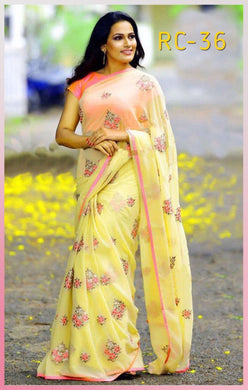 Attractive Yellow Designer Georgette Embroidery Saree With Blouse