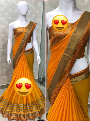 Attractive Yellow Color Chiffon Saree With Blouse