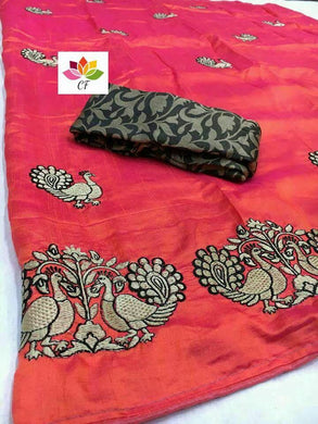 Attractive Peach Color Embroidery Saree With Blouse