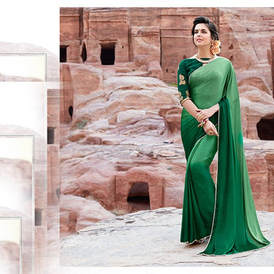 Attractive Green Satin Pearl Border Saree With Work Blouse