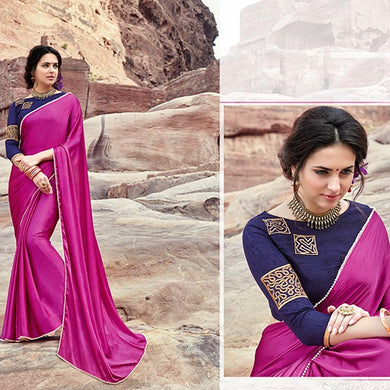 Awesome Pink And Purple Satin Saree With Work Blouse