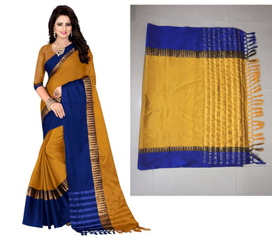 Attractive Yellow And Blue Designer Cotton Saree