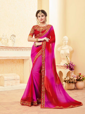 Attractive Pink Colour Georgette Saree With Embroidery Blouse