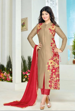 Cream  Cotton Semi-stitched Salwar Suit With Dupatta