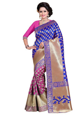 Blue Banarasi Art Cotton Silk Saree With Blouse Piece